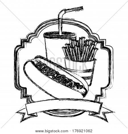 figure emblem with hot dog, fries french and soda with ribbon, vector illustration