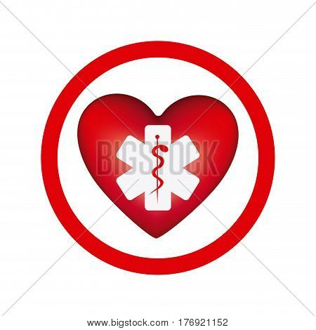 circular frame with heart health symbol with star of life vector illustration