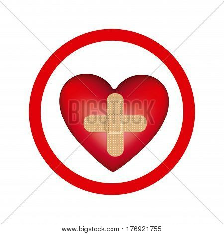 circular frame with heart band aid in cross form vector illustration