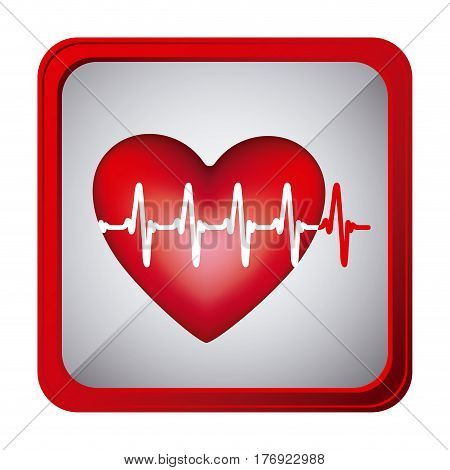 colorful frame square button heart with line vital sign vector illustration