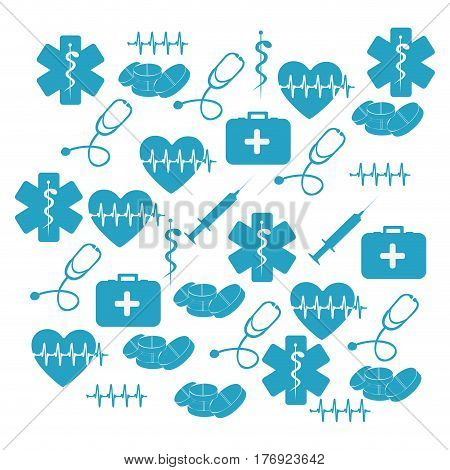 pattern blue silhouette health symbol and star of life set vector illustration