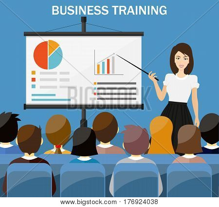 Businesswoman making presentation explaining charts on a white board. Business seminar.