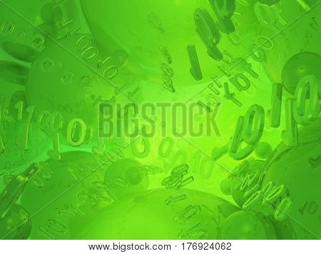 Virtual digits abstract 3d illustration green reflections horizontal background