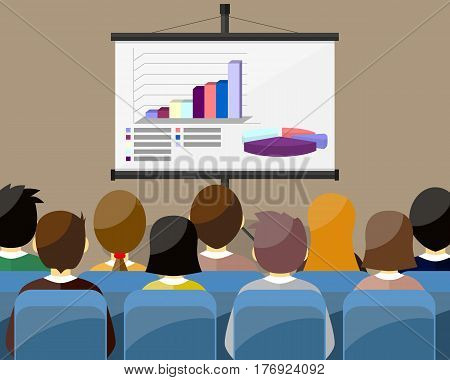 projector screen with financial report. Training staff meeting report business school. vector illustration in flat style. GRAPH AND DIAGRAM - 3D