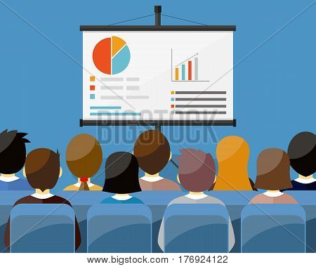 projector screen with financial report. Training staff meeting report business school. vector illustration in flat style.