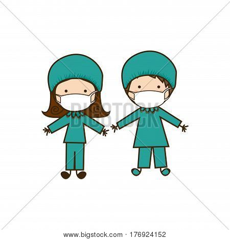 colorful caricature couple doctor costume vector illustration
