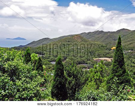 View over the Ngong Ping Plateau on the island of Lantau in Hong Kong