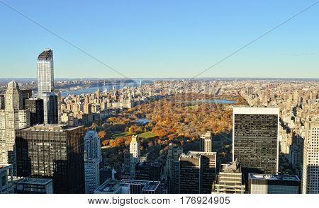 View of the Manhattan with Central Park at sunny day.