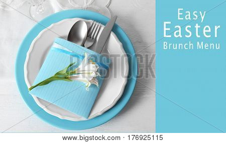 Text EASY EASTER BRUNCH MENU on background. Elegant table setting with floral decor