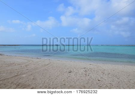 Secluded cove of Baby Beach in Aruba.
