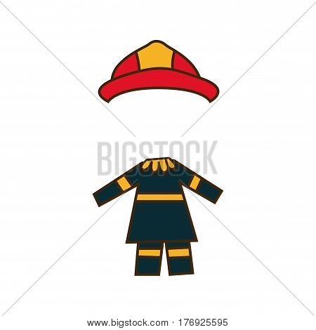 colorful caricature firefighters costume profession vector illustration