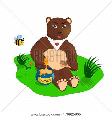 The illustration depicts a brown bear with honey.