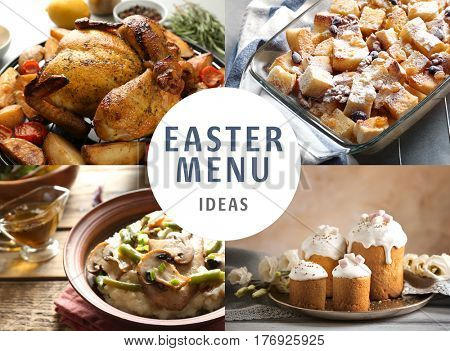Text EASTER MENU IDEAS on background. Collage of delicious food for festive dinner