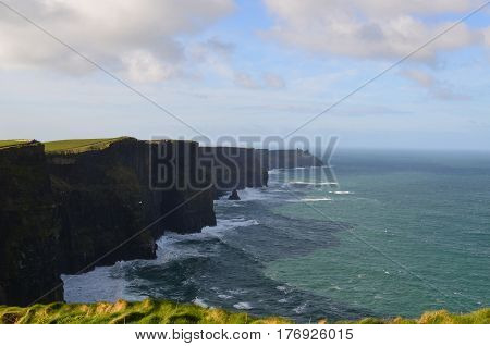 Shadows falling on Galway Bay from the Cliffs of Moher in Ireland.