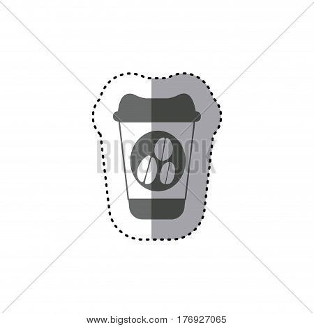 sticker monochrome silhouette glass disposable for hot drinks with lid vector illustration