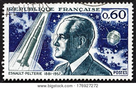 FRANCE - CIRCA 1967: a stamp printed in France shows Robert Esnault-Pelterie was a pioneering French aircraft designer and spaceflight theorist circa 1967