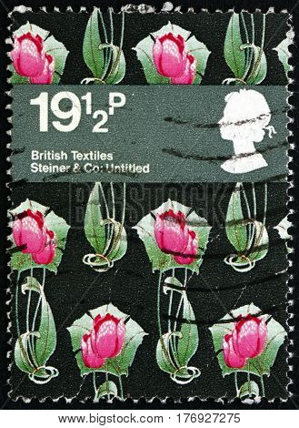 GREAT BRITAIN - CIRCA 1982: a stamp printed in the Great Britain shows Tulips Textile Design by Steiner &Co circa 1982