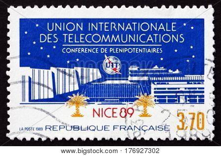FRANCE - CIRCA 1989: a stamp printed in France dedicated to ITU plenipotentiaries conference Nice circa 1989