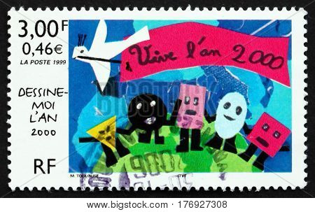 FRANCE - CIRCA 1999: a stamp printed in France shows Year 2000 stamp design contest winner circa 1999