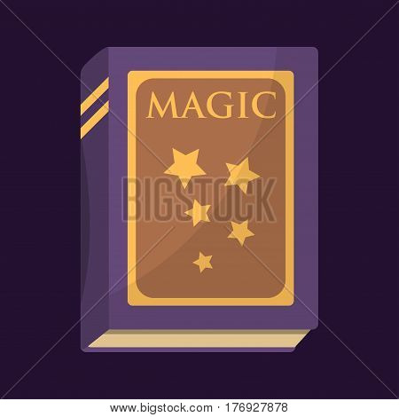 Old book with magic stars text fairytale vintage mystery fantasy imagination education literature and religion bible dark dream page vector illustration. Writing mystic story glow information symbol.