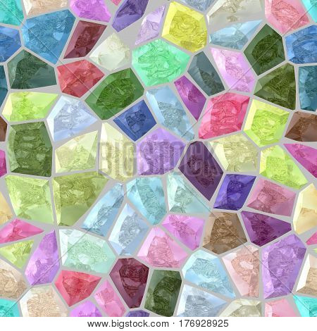 sweet pastel colored floor marble irregular plastic stony mosaic pattern texture seamless background with gray grout - full color