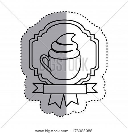 sticker silhouette border heraldic decorative ribbon with cup of cappuccino with cream vector illustration