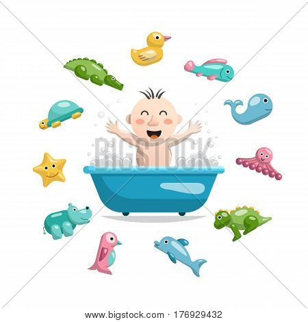 Joyful child who bathes in a bath with foam and around him is a set of animals, rubber bath toys in the bathroom.