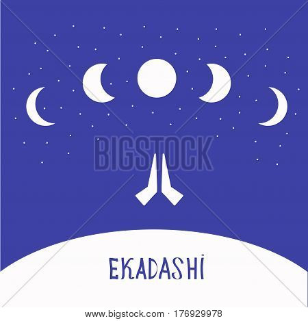 Ekadasi. the eleventh day. Hindu holiday. moon in the starry sky. vector illustration.