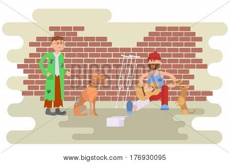 Tramp person with homeless dog in dirty ragsand and Hungry man with leg in a plaster cast, to use crutches. Isolated characters for infographic. Vector illustration eps10