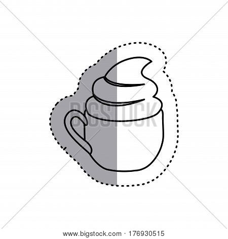 sticker shading silhouette cup of cappuccino with cream vector illustration