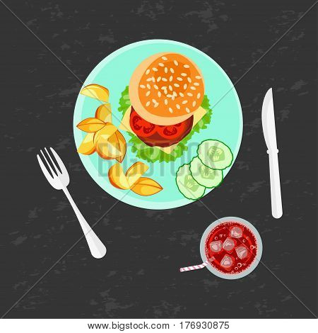 Burger, french fries and cola on the grey background. Top view vector illustration eps 10