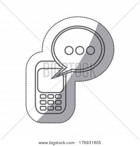 grayscale silhouette sticker of cell phone with oval speech vector illustration