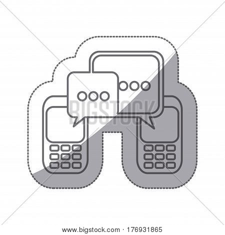 grayscale silhouette sticker of cell phones communication dialogue box vector illustration