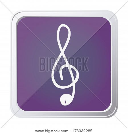 button of sign music treble clef with background purple and hand drawn vector illustration