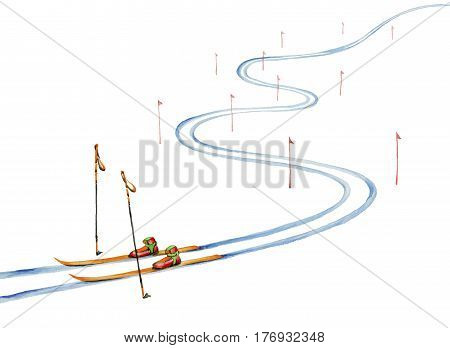 Ski track and ski equipment. Watercolor painting on white background