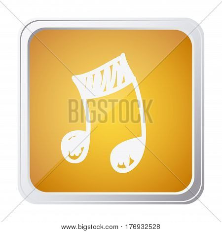 button of musical note with background yellow and hand drawn vector illustration