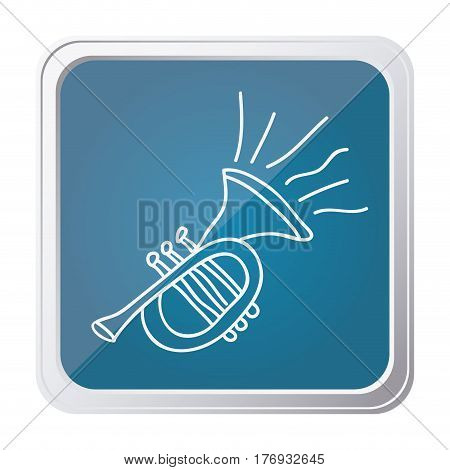 button of trumpet with background blue and hand drawn vector illustration