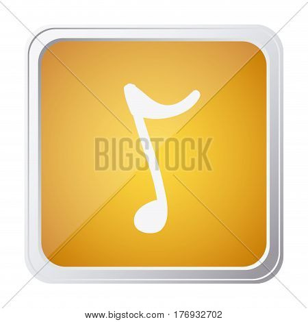 button of sign eighth note with background yellow and hand drawn vector illustration