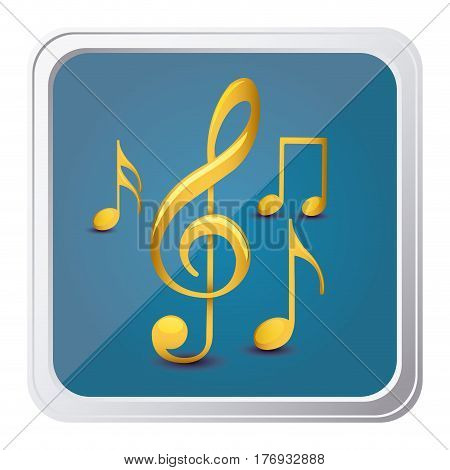 button of sets musical notes in yellow with background blue vector illustration