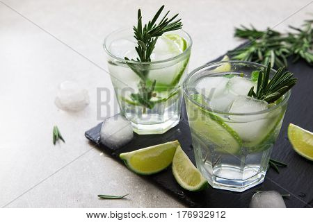 Lime Lemonade With Rosemary And Ice, Selective Focus