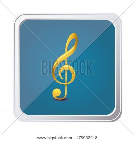 button of treble clef in yellow with background blue vector illustration