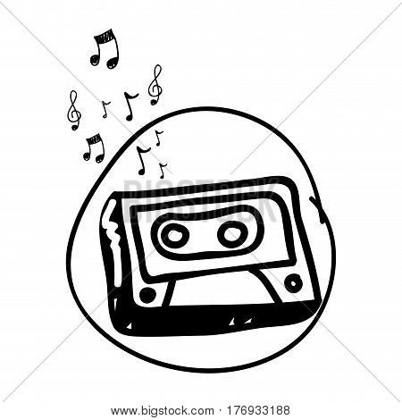 monochrome hand drawing of cassette tape in circle and musical notes vector illustration