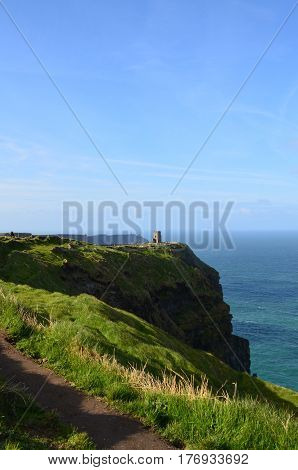 Beautiful sweeping views of O'Brien's Tower along the Cliff's of Moher in Ireland.