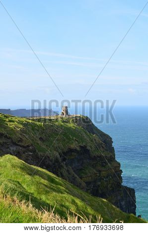 Round lookout tower perched on the Cliff's of Moher in Ireland.