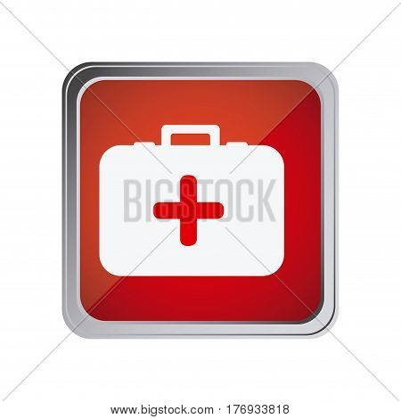 button with first aid kit with background red vector illustration