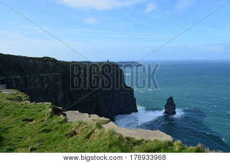 Cliff's of Moher and the Needle rock formation above Galway Bay.