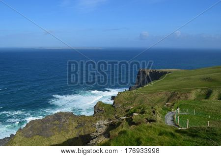 The burren pathway along the top of the Cliff's of Moher in Ireland. poster
