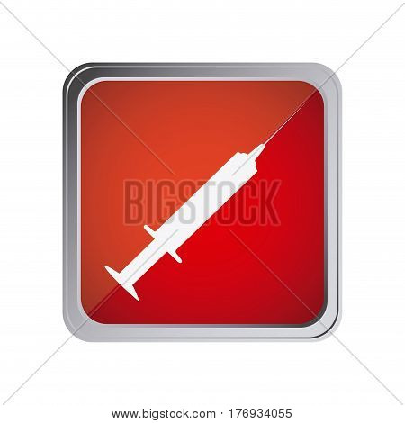 button with syringe with background red vector illustration