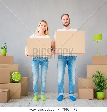Couple New Home Moving Day House Concept