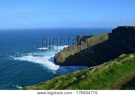 Amazing sweeping views of Ireland's Cliff's of Moher in Ireland.